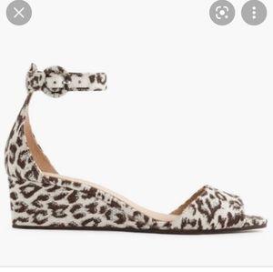 J Crew Leopard Laila Ankle Strap Wedges Size 7
